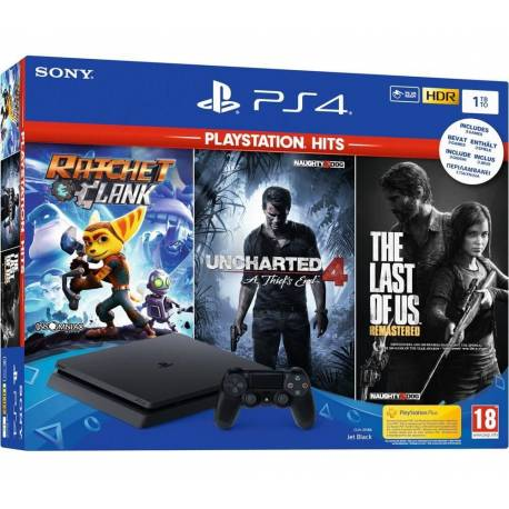 Playstation 4 Slim 1TB + Ratchet & Clank + Uncharted 4: A Thief's End +The Last of Us Remastered