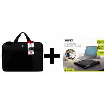"Pack Sacoche PC Portable 17"" + Support de Refroidissement Port Designs"