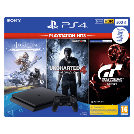 PS4 Slim 500 GB + Horizon Zero Dawn + Uncharted 4 + Gran Turismo Sport
